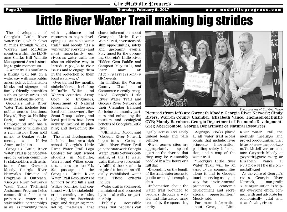 Little River Water Trail Making Big Strides McDuffie Progress Feb 9.2017