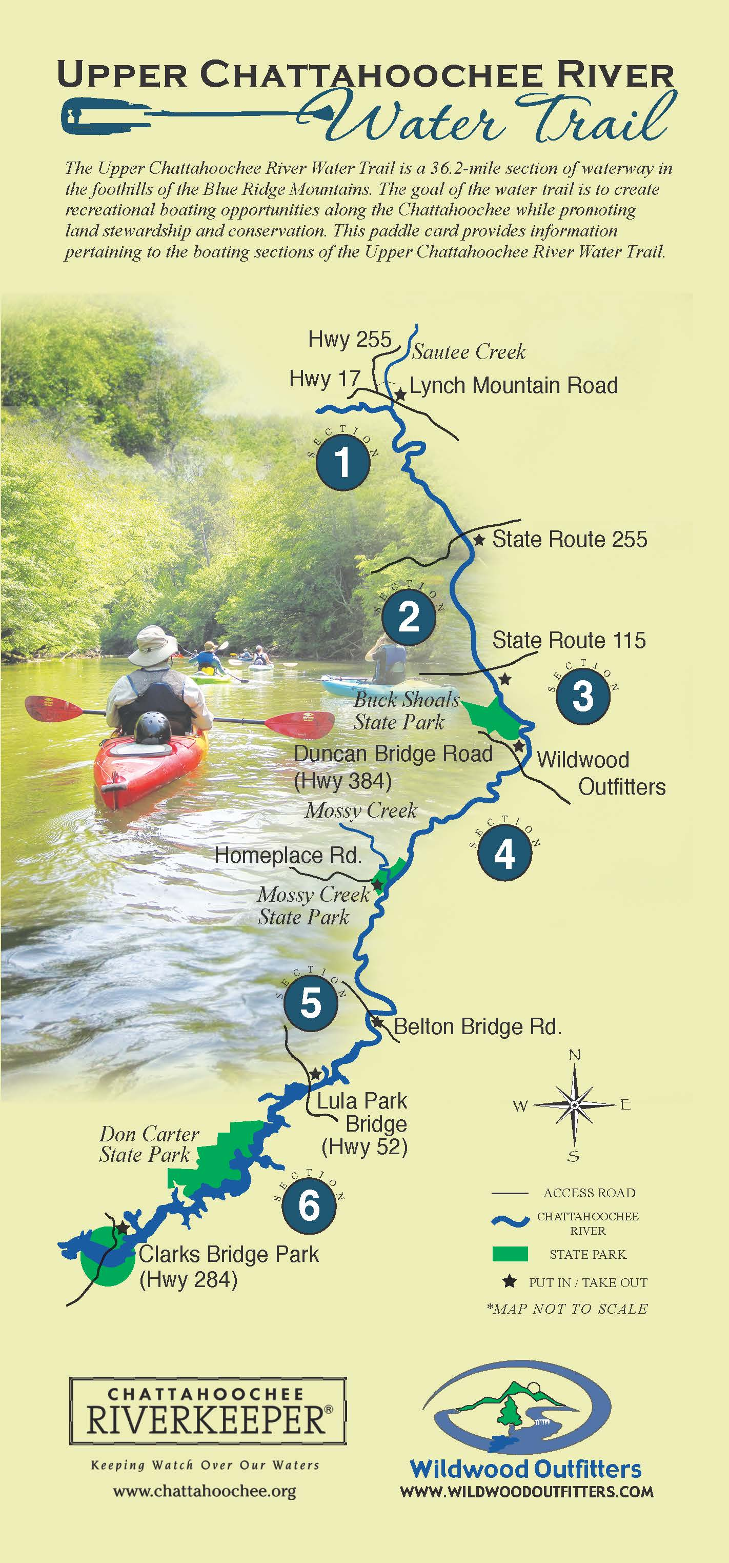 Upper chattahoochee river water trail for Georgia trout fishing map