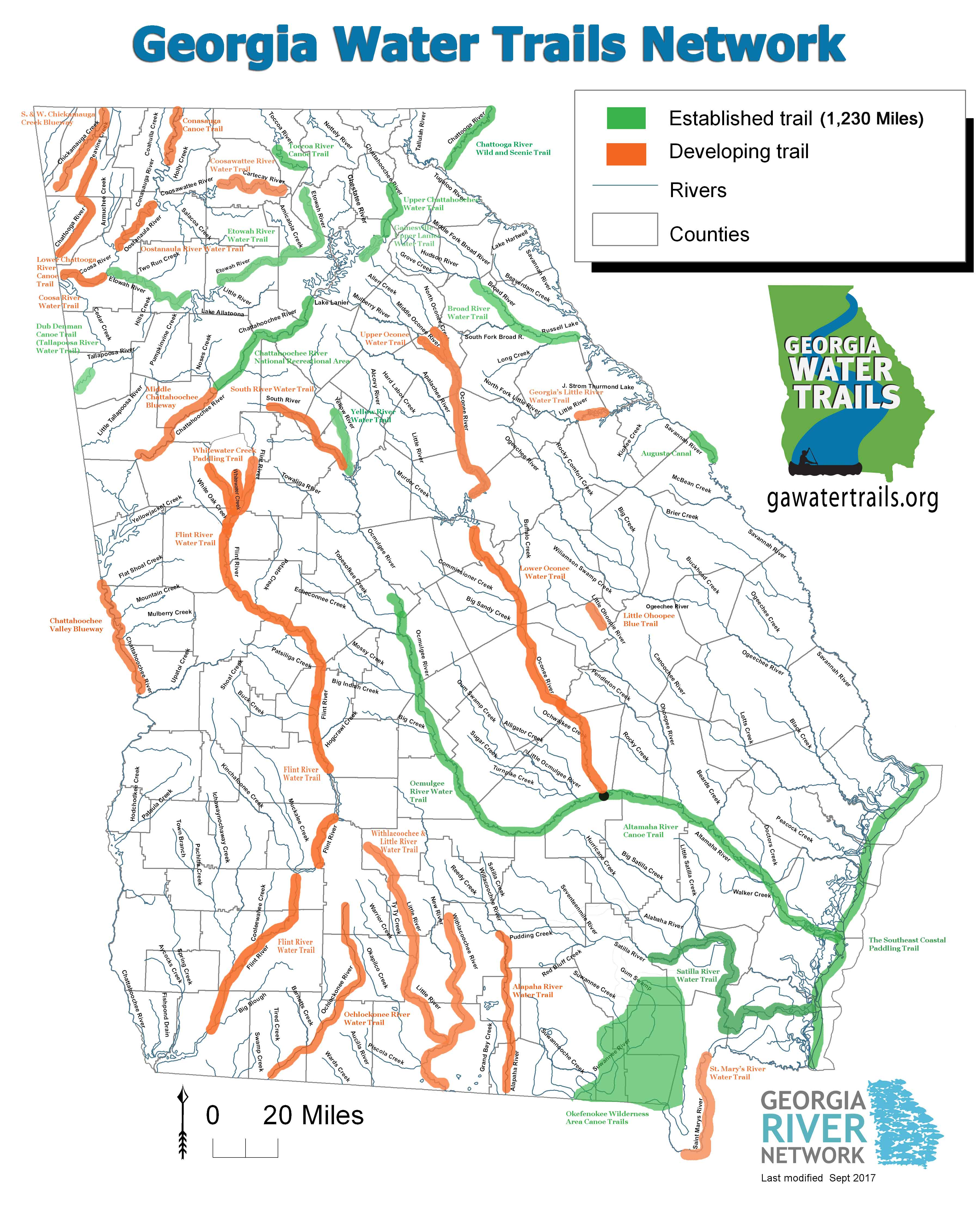 ga water trails map sept small. georgia water trails